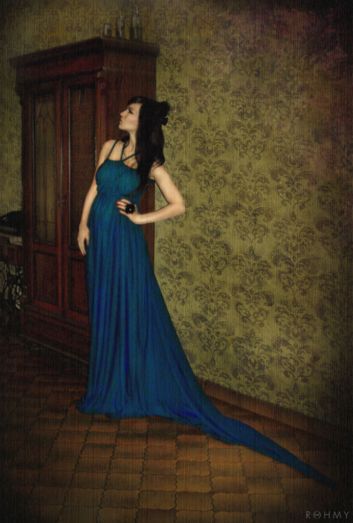 "Teal Evening Gown ""Luna"" by ROHMY"